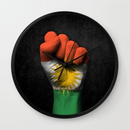 Kurdish Flag on a Raised Clenched Fist Wall Clock