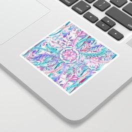 Boho Flower Burst in Pink and Teal Sticker