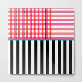 Gingham: Strawberry Flavor + Stripe Metal Print