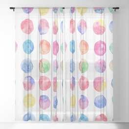 Artistic hand painted pink blue green watercolor brush strokes polka dots Sheer Curtain