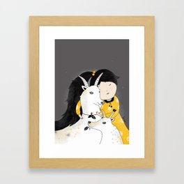Capricia with Goats Framed Art Print