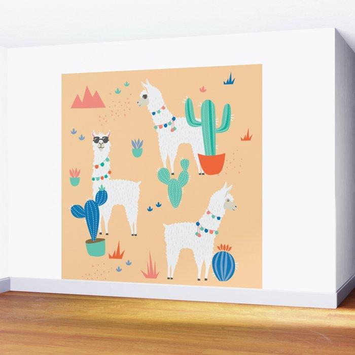 Summer Llamas Wall Mural