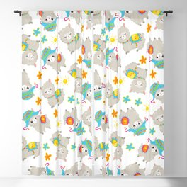 Pattern Of Alpacas, Cute Llamas With Hats, Flowers Blackout Curtain