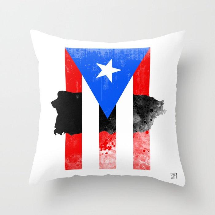 Puerto Rico + Flag Throw Pillow