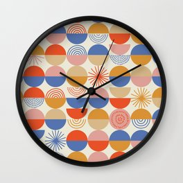 Vintage Modern abstract geometric pattern with semicircles and circles in retro scandinavian style. Pastel colors shapes with worn out texture on bright background Wall Clock