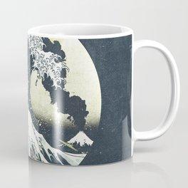 Great Wave Off Kanagawa Mt Fuji Eruption-Dark Blue Coffee Mug
