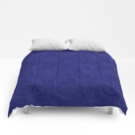 Rich Royal Blue Rippled Moiré Pattern Comforters