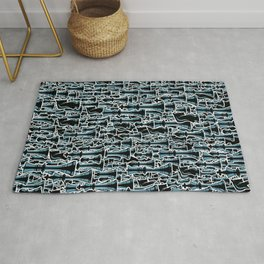 Chess Pattern II BLACK Rug