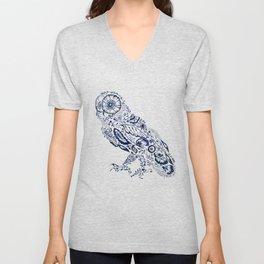 Folk Floral Indigo Owl Unisex V-Neck