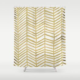 Gold Herringbone Shower Curtain