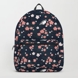 Navy blue cherry blossom finch Backpack