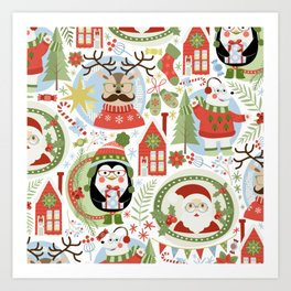 Holiday Christmas Winter Wonderland with Hipster Santa Reindeer Polar Bears and Penguins Art Print