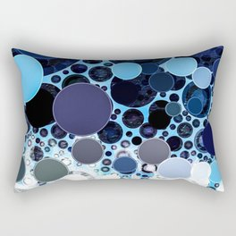 Bold Indigo Navy Blue Circular Pattern Design Rectangular Pillow