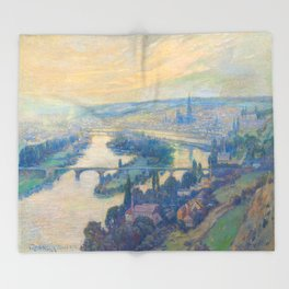 Václav Radimský (1867-1946) View of Rouen Impressionist Landscape Painting Bright Colors Oil Throw Blanket