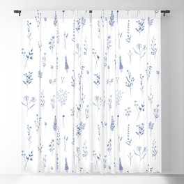 Wildflowers in blue Blackout Curtain