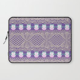 Vintage ivory purple floral lace cute funny owls Laptop Sleeve