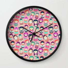 Babushka Russian doll pattern Wall Clock