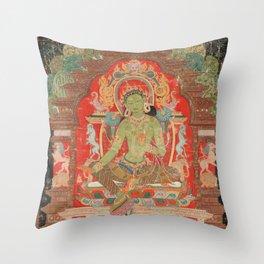 Green Tara 13th Century Tibetan Art Throw Pillow