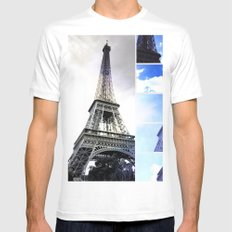 Eiffel Tower Blue Photo Collage MEDIUM Mens Fitted Tee White