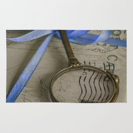 Still life with old letters and vintage loupe Rug