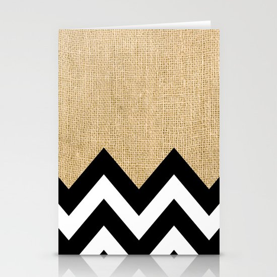 BURLAP BLOCK CHEVRON Stationery Cards
