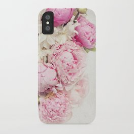 Peonies on white iPhone Case