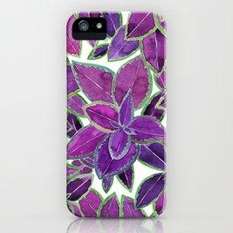 Purple leaves watercolor iPhone Case