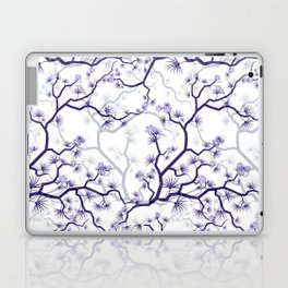 Abstract navy blue gray lavender floral illustration Laptop & iPad Skin
