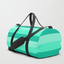 Teal, Sea foam Green, & Mint Medium Stripes Duffle Bag
