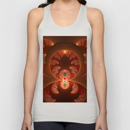 Fractal Mysterious, Warm Colors Are Shining Unisex Tank Top