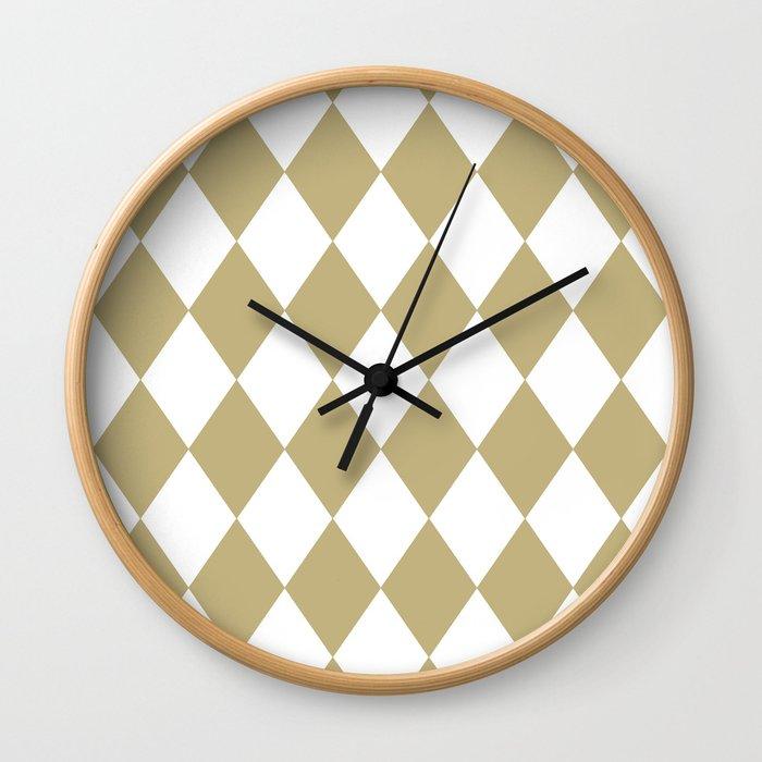 Diamonds (Sand/White) Wall Clock