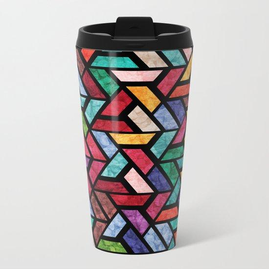 Seamless Colorful Geometric Pattern VII Metal Travel Mug
