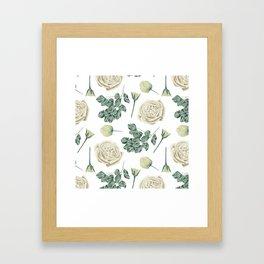 Flower Shop Ivory Cream Roses Pattern Framed Art Print