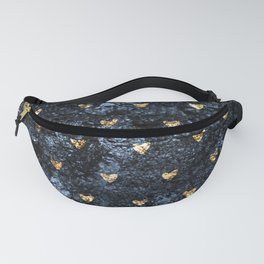 Gold Glitter Hearts on Blue-Black Scratched Suede Fanny Pack