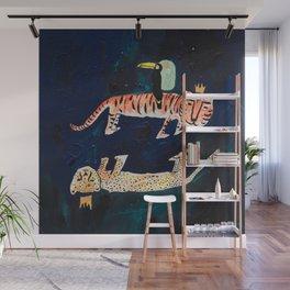 Tiger, Cheetah, Toucan Painting Wall Mural