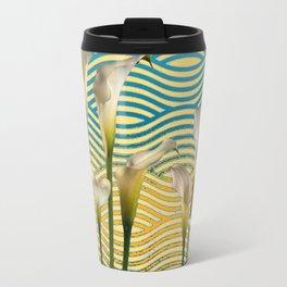 WHITE CALLA LILIES BLUE-YELLOW WATER ART Travel Mug
