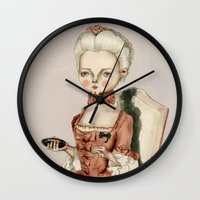 marie antoinette Wall Clocks featuring Marie Antoinette by Maripili
