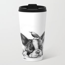 Frenchie and the Birds Metal Travel Mug