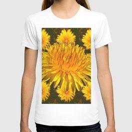 YELLOW DANDELIONS  & DARK MOSS GREEN ART DESIGN T-shirt