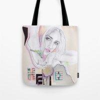 hello beautiful Tote Bags featuring Hello, beautiful! by Olivia Tse (OliviaOliveTea)