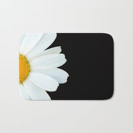 Hello Daisy - White Flower Black Background #decor #society6 #buyart Bath Mat