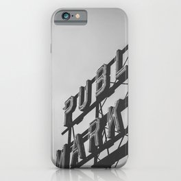 Seattle Pike Place Public Market Black and White iPhone Case