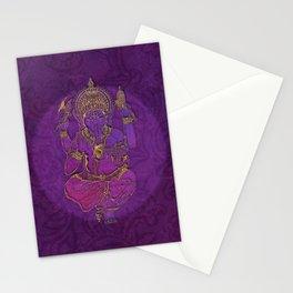 Ganesha hindu god watercolor gold purple art Stationery Cards