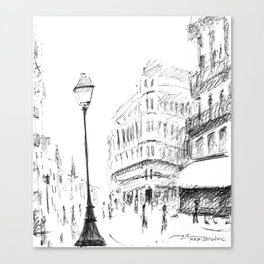 Sketch of a Street in Paris Canvas Print