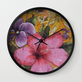 Vintage Tropical Flowers Table Cloth Wall Clock