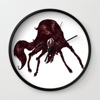 the hound Wall Clocks featuring Happy Hound  by exeivier