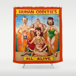 Sideshow Banner, Human Oddities Shower Curtain