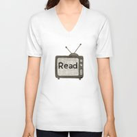 read V-neck T-shirts featuring read by jo bozarth