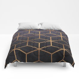 Dark Purple and Gold - Geometric Textured Gradient Cube Design Comforters