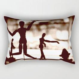 Wooden Puppet Sepia Rectangular Pillow